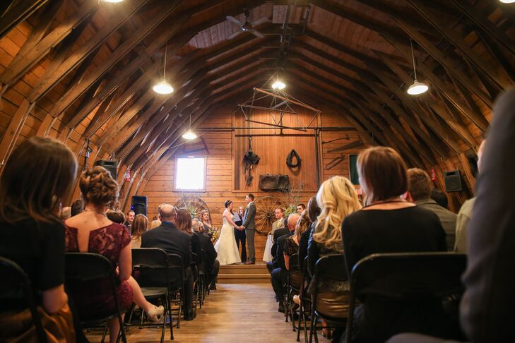 The couple held their ceremony at Gunn's Dairy Barn on the Heritage Park Historical Village grounds.