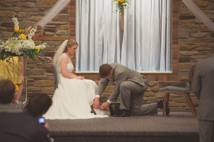 Addison and Alexa felt their marriage rituals were the most important part of the day so wanted to be sure to incorporate their religious beliefs. They washed each others feet during the ceremony to symbolize their faith and their love for one another.