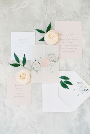 Simple Blush-and-White Invitation for Wedding at Calamigos Ranch in Malibu, California