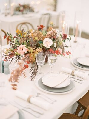 Tablescape With Rustic Centerpiece, Cut-Crystal Glassware and Neutral Dishware