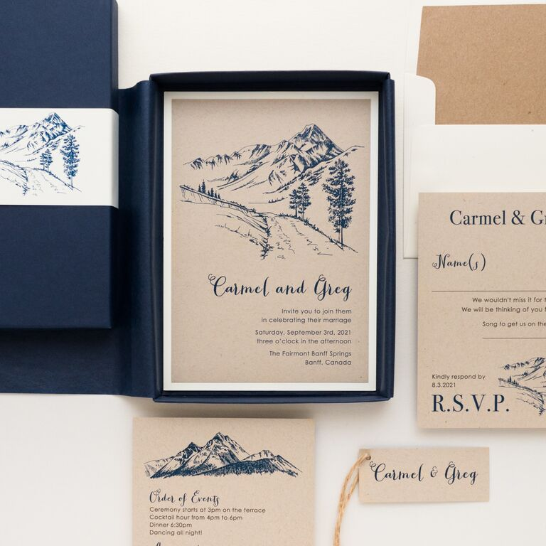 Navy mountain graphics and event details on nude background in navy box