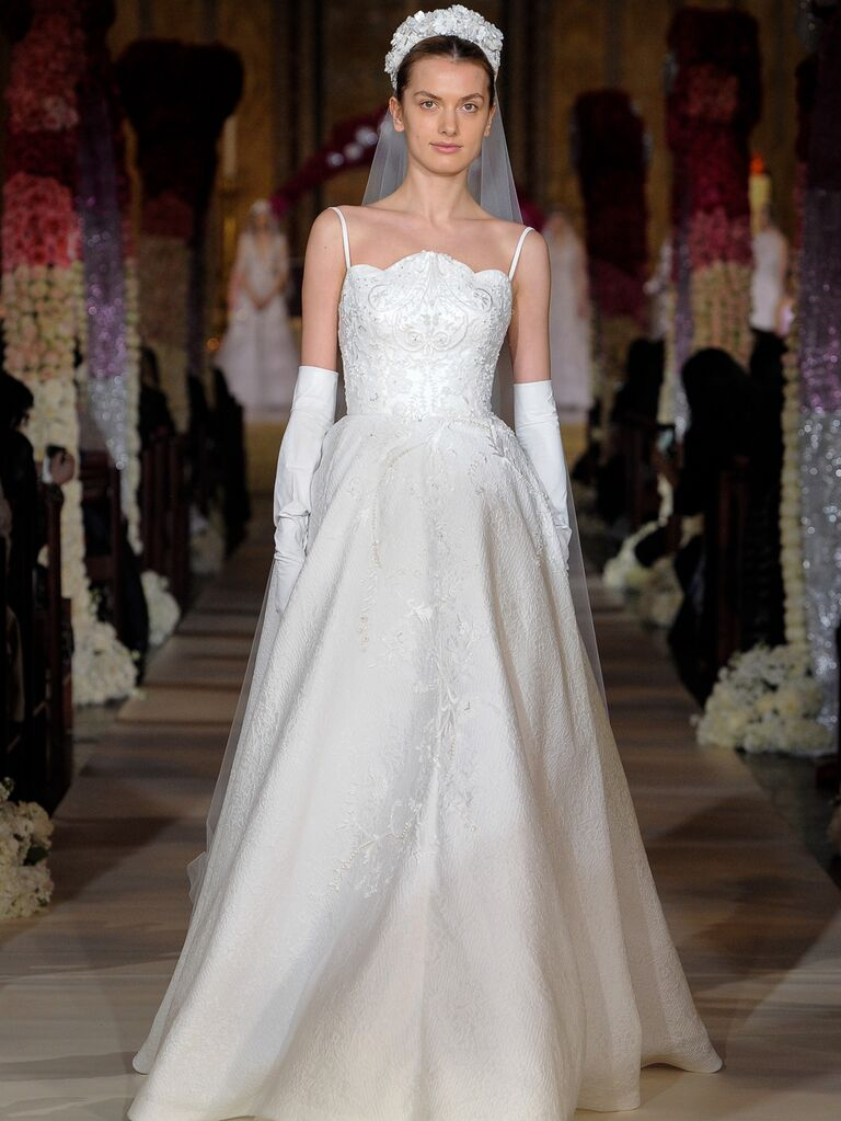 Reem Acra Spring 2020 Bridal Collection embroidered A-line wedding dress with spaghetti straps