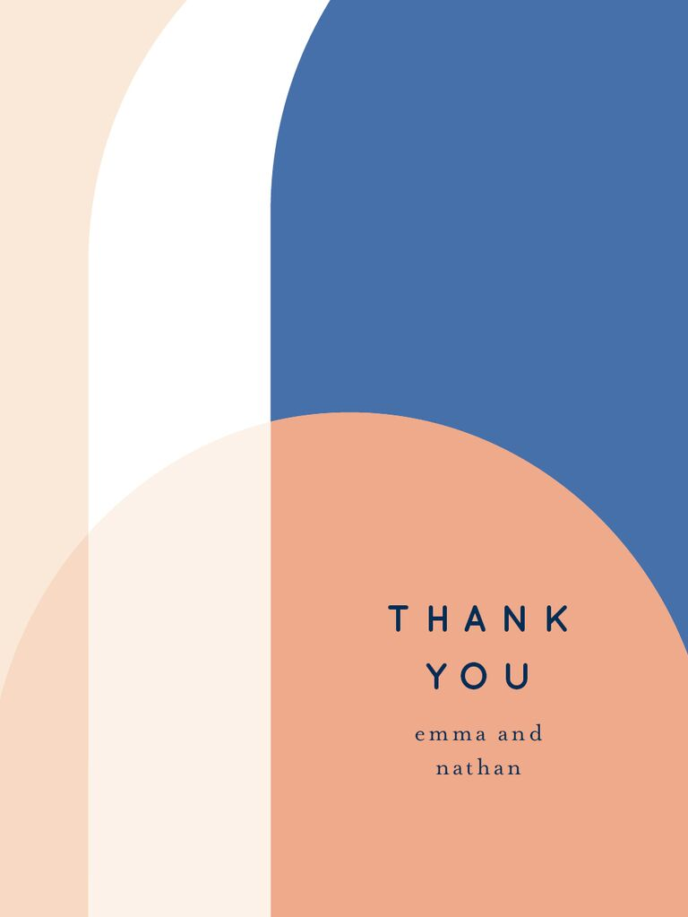 Modern blue and earth-toned color palette wedding shower thank-you card