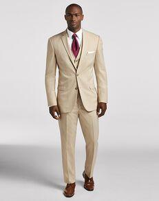 Men's Wearhouse Pronto Uomo Tan Notch Lapel Suit Champagne Tuxedo