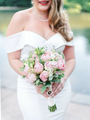 Bride With Off-the-Shoulder Wedding Dress Holding Peony Bouquet