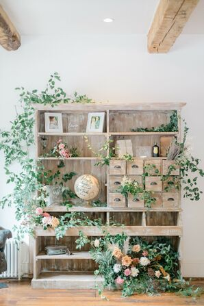 Rustic Armoire with Decorations and Greenery