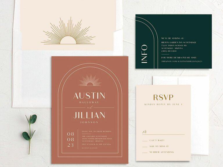 minimal fall wedding invitation