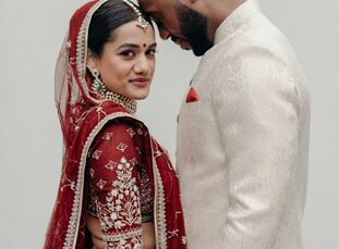 """""""We wanted our wedding to honor and merge our cultures, while staying true to our personalities,"""" Vishwarupa (Vish) says of her marriage to Randall. T"""