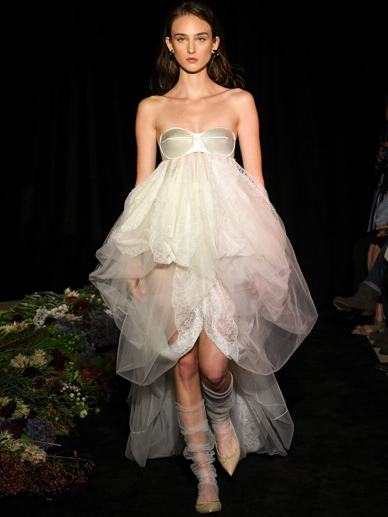 Sheer High-Low Wedding Dress
