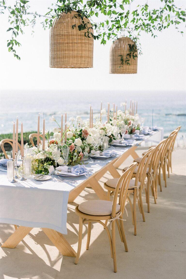 rattan wicker natural wedding setting