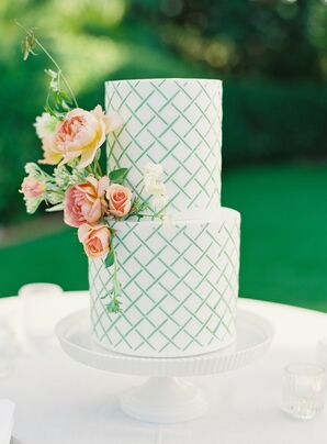 Two-Tier Wedding Cake With Teal Lattice Design