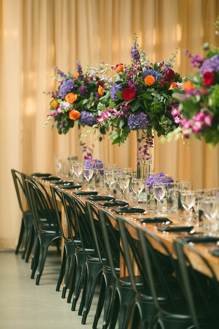 Wedding Tablescape With Tall Centerpieces at Ovation in Chicago, Illinois
