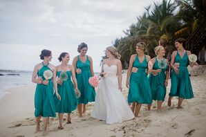 Turquoise Bridesmaids Wrap Dresses with Paper Fans