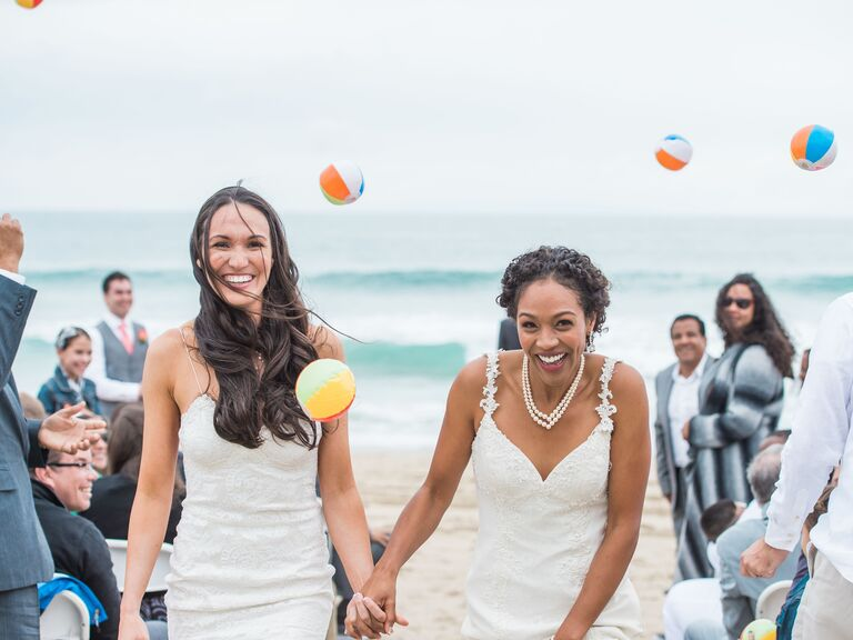 Wedding ceremony exit with beach ball toss