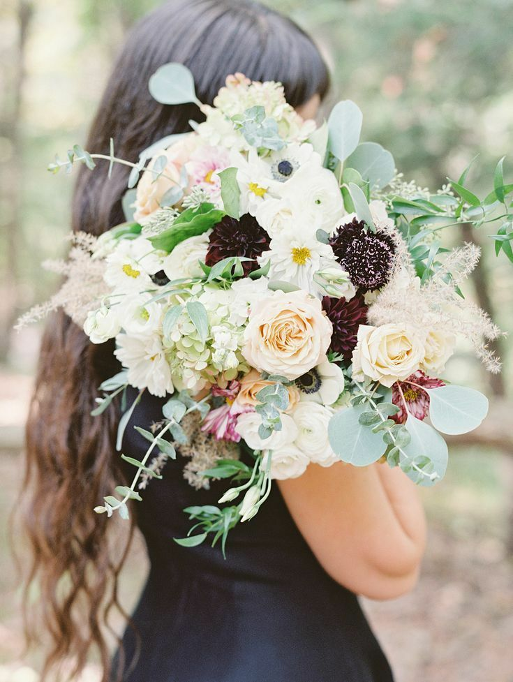 Bouquet with scabiosa and eucalyptus