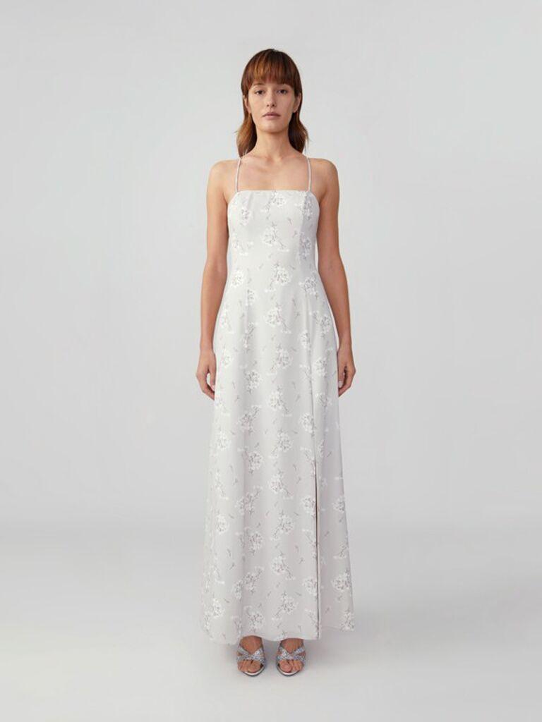 Light grey simple floral bridesmaid dress