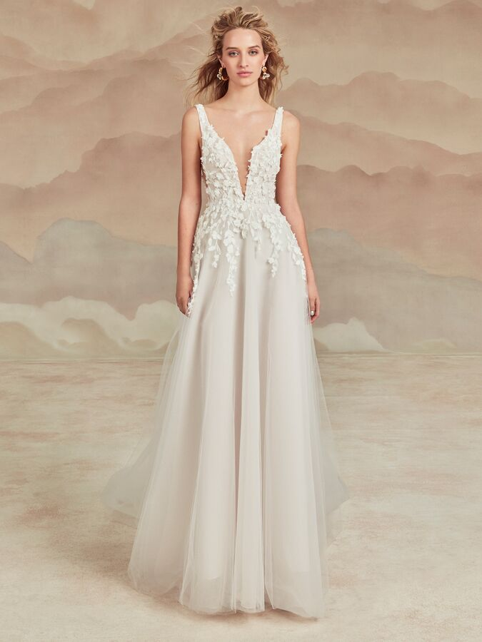Ines Di Santo A-line wedding dress with plunging V-neck