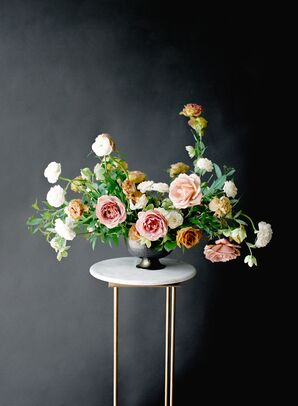 Ikebana-style Arrangement of Roses, Peonies, Ranunculus and Greenery