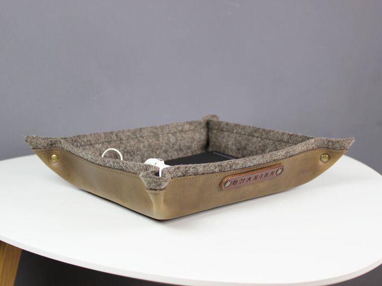 Leather and wool felt catchall personalized 7 year anniversary gift
