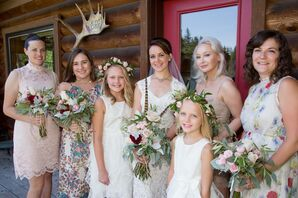 Mismatched Floral and Lace Bridesmaid Dresses