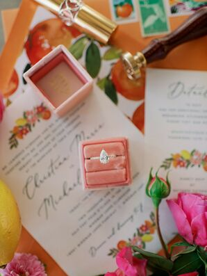 Pear-Shaped Engagement Ring and Illustrated Wedding Invitation