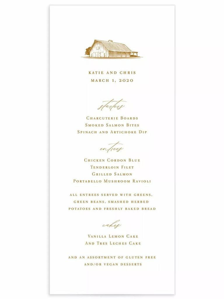 Farmhouse graphic above menu items in elegant brown type on white background
