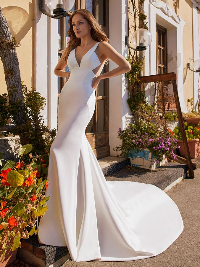 Ines by Ines Di Santo architectural modified trumpet wedding dress