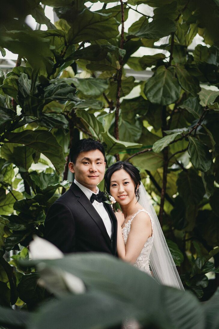 """For their wedding venue, Lulu and Kevin wanted, """"a floral and green space. Planterra Conservatory in Detroit has been voted one of the best wedding ve"""