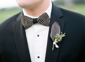 Guinea Feather Boutonniere and Bowtie