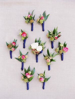 Bohemian Boutonnieres of Scabiosa, Roses and Baby's Breath