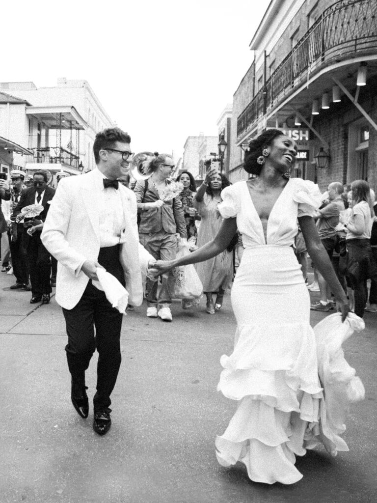 Couple at second line in New Orleans