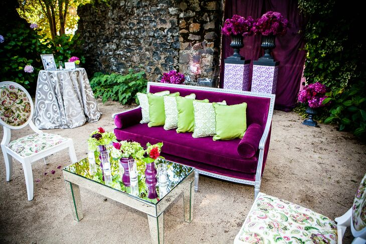 A plum and green color scheme helped create this ultra plush lounge space.