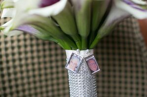 Personal Silver-Framed Photos on Bouquet