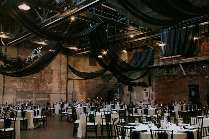 Industrial Loft Reception with Black Draping and White Linens