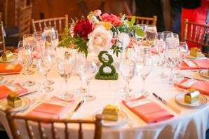 Pink and White Reception Table