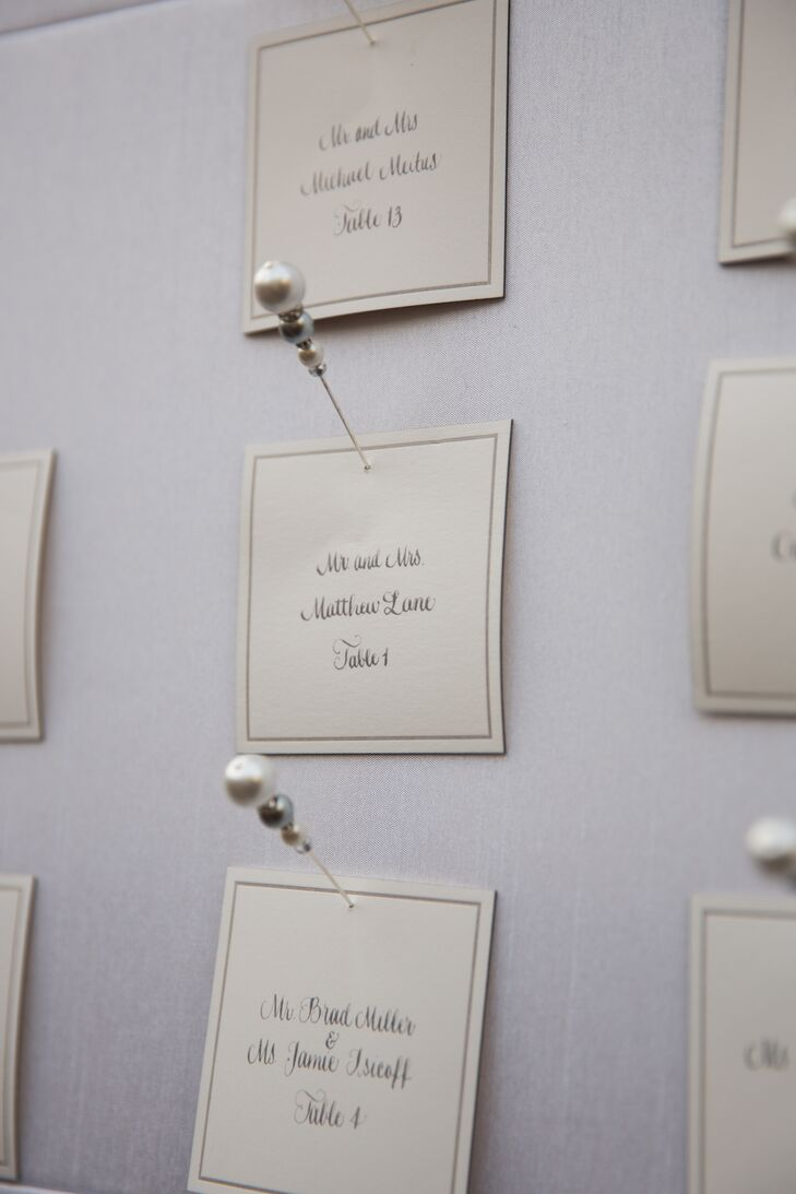 Simple pushpins with a pearl-like finish added a sense of elegance to Whitney and Matt's classic escort card display.