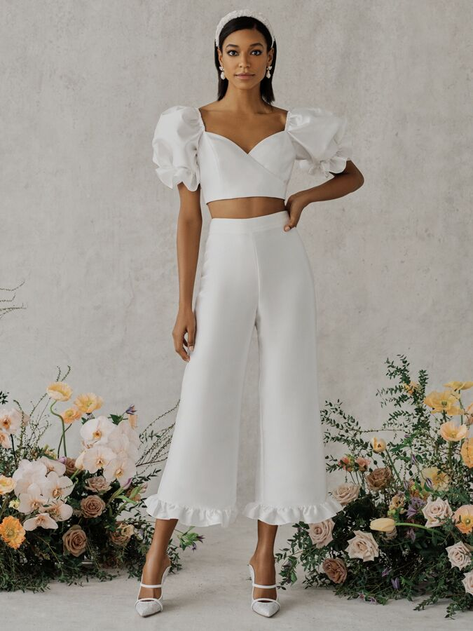 Alexandra Grecco Poppy crop top and high-waist trousers