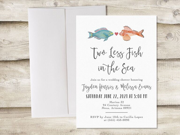 'Two less Fish in the Sea' in loopy black script and two fish graphics kissing above event details on white background