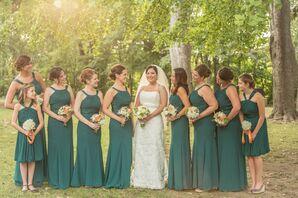 Long Jade David's Bridal Bridesmaid Dresses
