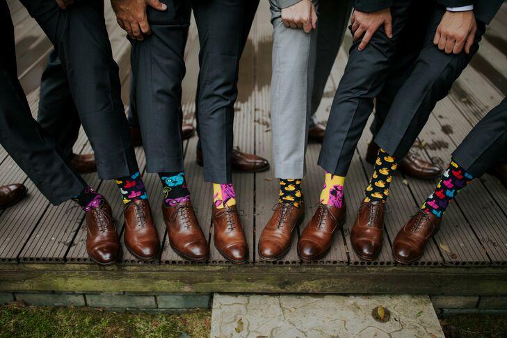 Groomsmen Wearing Patterned Socks for Wedding in Zhangjiajie, China