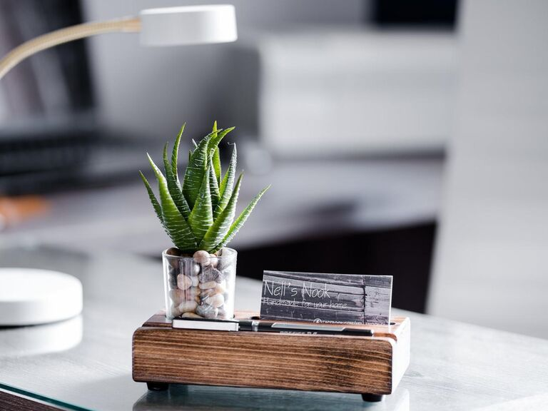 Boho wood business card holder with faux succulent