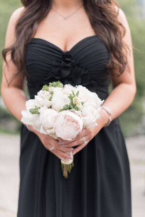 Bridesmaid in Black with Bouquet of Peonies
