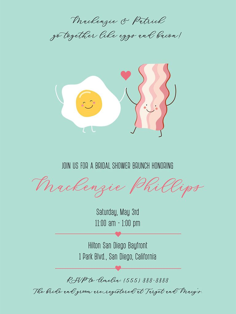 Smiley egg and bacon graphics featuring fun type in black and red on mint background