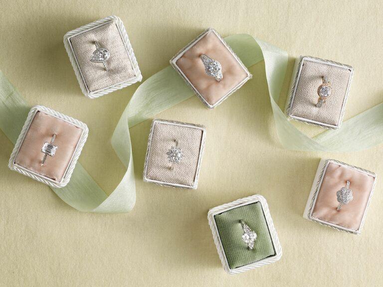 engagement rings in velvet ring boxes