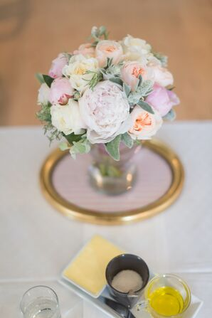 Peony and Dusty Miller Centerpiece