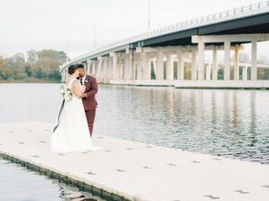 Bride and Groom Pose for Wedding Photos