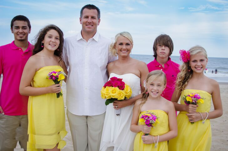 Amanda and Jason's bridesmaids and groomsmen were their children. The girls dressed in beachy yellow dresses and the boys wore hot pink polo shirts.