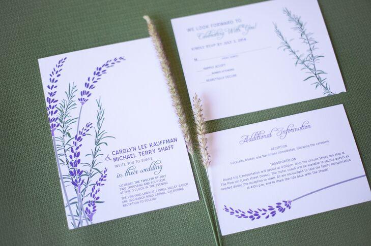 Lavender and Rosemary Wedding Invitations