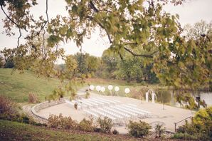 White Folding Ceremony Chairs and Balloons