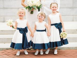 Navy and White Flower Girl Dresses with Oversize Bows